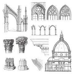 Gothic building style / illustration