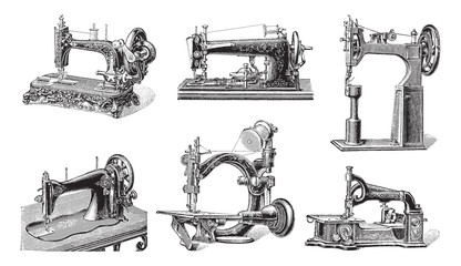 Old sewing machine collection / vintage illustration