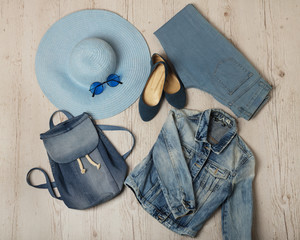 Denim fashion set - clothes, shoes and accessories.