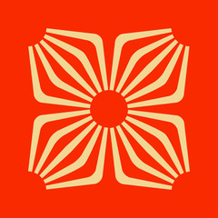 floral geometric japanese style symbol in red and ivory