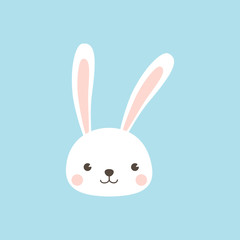 Happy Easter Bunny. Rabbit character Vector illustration for Easter greeting card, invitation with white cute rabbit on sky blue background.