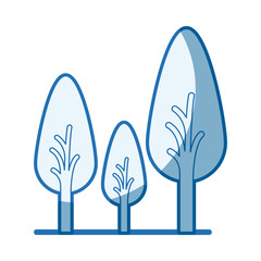 blue shading silhouette of abstract trees set with foliage in shape oval vector illustration