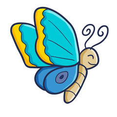 Funny and cute bright blue butterfly flying happily - vector.
