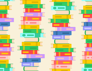 Seamless pattern with stack of books