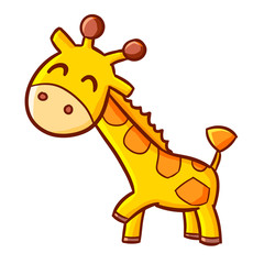 Funny and cute giraffe smiling - vector.