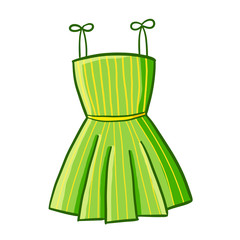 Funny and cool green dress with yellow vertical small stripes - vector.