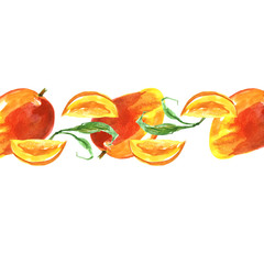 Watercolor line, border, element from the picture of mango fruit. Slice, fruit, fruit for design. On isolated white background. Vintage and possible pattern