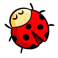 Funny and cute smiley red ladybug - vector
