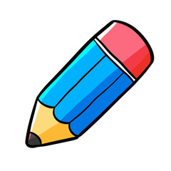 Funny and cute short blue pencil - vector.