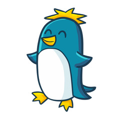 Funny and cute blue penguin standing and smiling happily - vector.