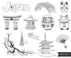 VECTOR set of japanese doodles. outline drawings