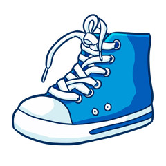 Cute and cool blue sneaker in cartoon style - vector.