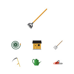 Flat Garden Set Of Stabling, Hay Fork, Hacksaw And Other Vector Objects. Also Includes Can Bailer, Pitchfork, Tool Elements.