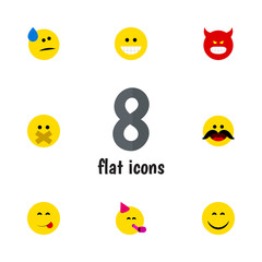 Flat Gesture Set Of Grin, Delicious Food, Pouting And Other Vector Objects. Also Includes Fun, Whiskers, Cheerful Elements.