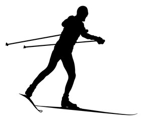 black silhouette male skier cross-country skiing