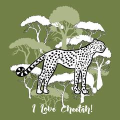 Cheetah and savanna trees print