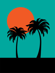 silhouette palm trees and orange sun