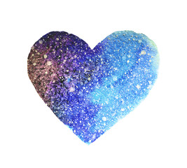 Watercolor heart in beautiful colors of space