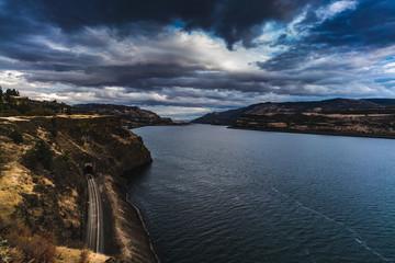 Railroad Along The Columbia River Gorge