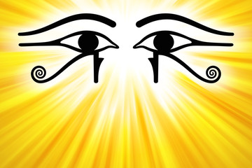 Eyes of Horus with golden sunbeams from upper center. Wedjat, the ancient Egyptian symbol of protection, royal power and good health of the goddess Wadjet. Similar to Eyes of the god Ra. Illustration.