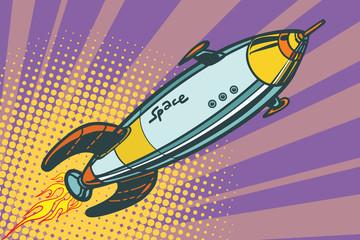 Retro space ship flies up