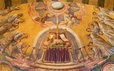 Wall Mural - BERLIN, GERMANY, FEBRUARY - 14, 2017: The Fresco of The Lab of God in main apse of Herz Jesus church by Friedrich Stummel and Karl Wenzel from end of 19. and beginn of 20. cent.