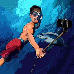 cartoon man under the water taking pictures of himself with a shark
