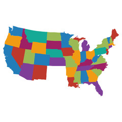 USA map with colorful states