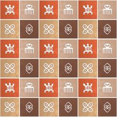 Ethnic african pattern with Adinkra simbols