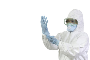 Woman wearing gloves with biohazard chemica protective suit. Isolated on white background.