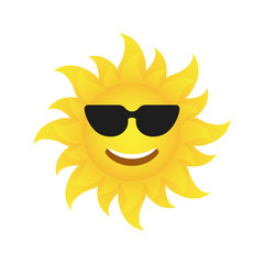 cool sun icon. vector illustration