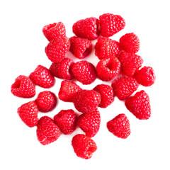Ripe raspberries isolated on white background close up, macro