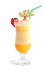 Mango smoothie isolated on white
