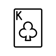 Casino & Gambling icons - Playing Card King of Clubs (Outline)