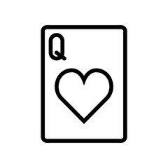 Casino & Gambling icons - Playing Card Queen of Hearts (Outline)