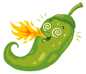 Chili pepper with flame
