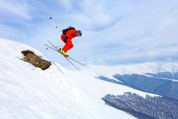 Wall Mural - good skiing in the snowy mountains, Carpathians, Ukraine, good winter day, incredible ski jump, ski season