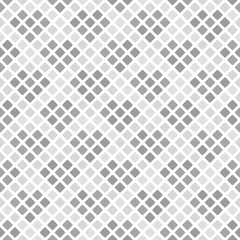 Gray and white rounded diamond pattern with hearts. Seamless vector background