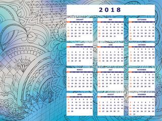 blue-gray tangle zen pattern calendar year 2018