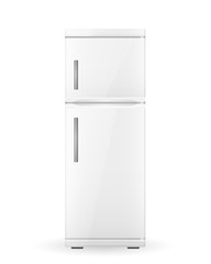White realistic refrigerator isolated on white background. Vector illustration.