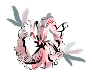 Stylized Poppy. Hand Drawn Illustration.