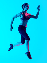 one mixed races woman runner running   isolated on blue blackground