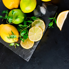 Lemons and limes with mint