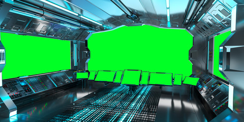 Spaceship interior with view on green windows 3D rendering