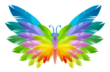 Rainbow butterfly with feathers wings on a white background