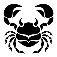Black symmetrical crab on a white background