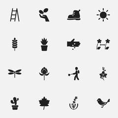 Set Of 16 Editable Planting Icons. Includes Symbols Such As Tulip, Plant Protection, Frond And More. Can Be Used For Web, Mobile, UI And Infographic Design.