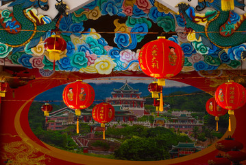 Red Chinese lantern. Taoist Temple in Cebu, Philippines.