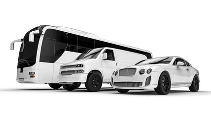 Luxury transportation on white / 3D render image representing an luxury car hire fleet painted in white