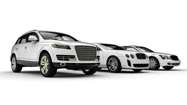 Luxury transportation painted in white / 3D render image representing an luxury car fleet  painted white